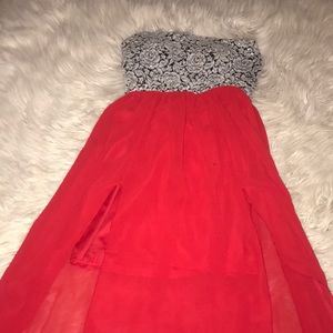 A strapless red dress